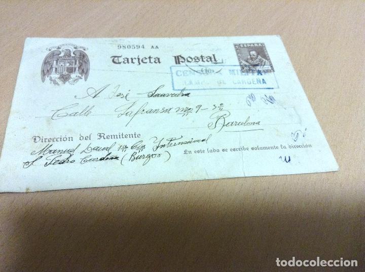 CENSURA MILITAR DE UN PRESO DEL CAMPO DE CONCENTRACION DE SAN PEDRO DE CARDEÑA 11-5-1939 (Postales - Postales Temáticas - Guerra Civil Española)