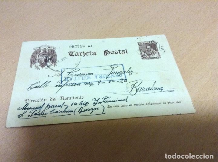 CENSURA MILITAR DE UN PRESO DEL CAMPO DE CONCENTRACION DE SAN PEDRO DE CARDEÑA 9-6-1939 (Postales - Postales Temáticas - Guerra Civil Española)