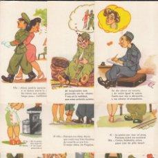 Postales: TARJETA ILUSTRADAS CON SÁTIRAS DE SOLDADOS, COLECCIÓN COMPLETA 10 TRAJETAS, SERIE 9 ESPERON-MADRID . Lote 195903628