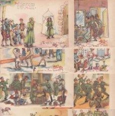 Postales: TARJETA ILUSTRADAS CON SÁTIRAS DE SOLDADOS, COLECCIÓN COMPLETA 10 TRAJETAS, ILUSTRADAS POR PEPÍN, . Lote 195904782