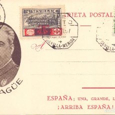 Postales: POSTAL PATRIOTICA CORONEL YAGUE MATASELLO SEVILLA MALAGA LIBERADA GUERRA CIVIL. Lote 197384802