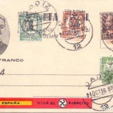 Postales: TARJETA POSTAL PATRIOTICA VIVA FRANCO MATASELLOS CADIZ 1936 GUERRA CIVIL. Lote 198622847