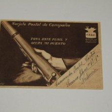 Postales: TARJETA POSTAL DE CAMPAÑA PSOE AGRUPACIÓN SOCIALISTA MADRILEÑA DE PLENA GUERRA CIVIL - VALLECAS 1937. Lote 201830473