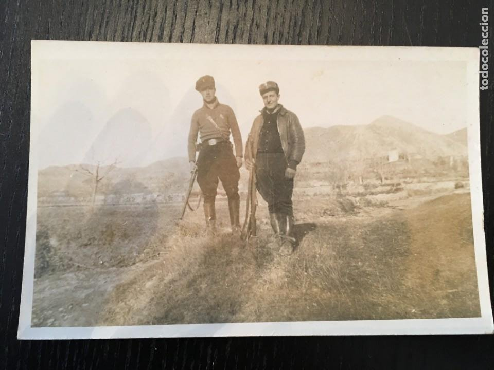 POSTAL FOTOGRAFICA GUERRA CIVIL GRUPO DE MILICIANOS FRENTE DE ARAGON ( ALCAÑIZ ) TERUEL DIC. 1936 (Postales - Postales Temáticas - Guerra Civil Española)