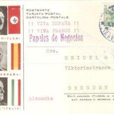 Postales: POSTAL FRANCO HITLER Y MUSSOLINI COLABORACIÓN SEGUNDA GUERRA MUNDIAL DEVA SAN SEBASTIAN ALEMANIA. Lote 202854107