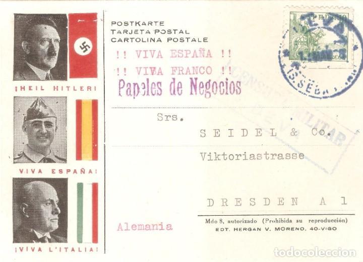 Postales: POSTAL FRANCO HITLER Y MUSSOLINI COLABORACIÓN SEGUNDA GUERRA MUNDIAL DEVA SAN SEBASTIAN ALEMANIA - Foto 2 - 202854107