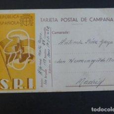 Postales: TARJETA POSTAL CAMPAÑA SOCORRO ROJO INTERNACIONAL REPUBLICA ESPAÑOLA ESCRITA DESDE EL FRENTE 1938. Lote 204426498