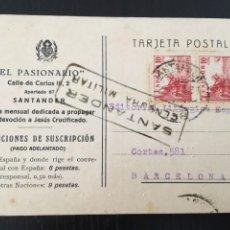 Postales: SANTANDER - POSTAL CENSURA MILITAR 1939 REVISTA EL PASIONARIO 14X9 CM.. Lote 205650400
