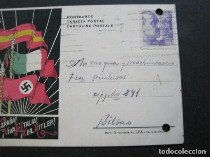 Postales: VIVA ESPAÑA-VIVA ITALIA-HEIL HITLER-CIRCULADA-GUERRA CIVIL-NAZI-POSTAL ANTIGUA-(71.262) - Foto 3 - 207126293