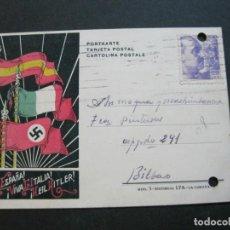 Postales: VIVA ESPAÑA-VIVA ITALIA-HEIL HITLER-CIRCULADA-GUERRA CIVIL-NAZI-POSTAL ANTIGUA-(71.262). Lote 207126293