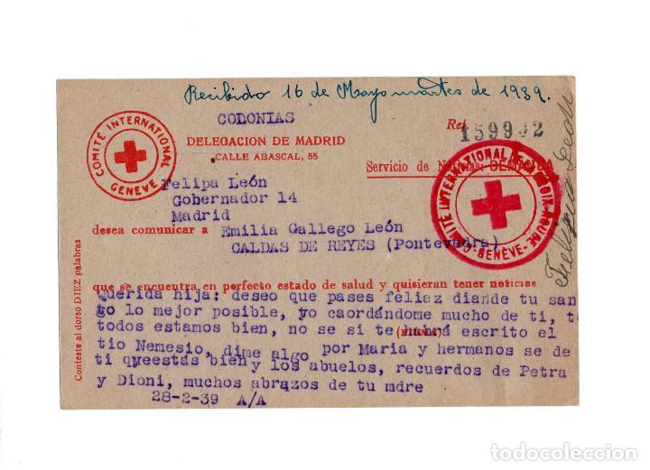 COMITÉ INTERNACIONAL CRUZ ROJA. CALDAS DE REYES.(PONTEVEDRA). (Postales - Postales Temáticas - Guerra Civil Española)