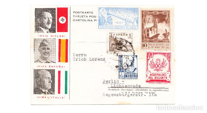 POSTAL FASCISTA FRANCO HITLER MUSSOLINI ENVIADA A BERLÍN (Postales - Postales Temáticas - Guerra Civil Española)