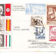 Postales: POSTAL FASCISTA FRANCO HITLER MUSSOLINI ENVIADA A BERLÍN. Lote 209602423
