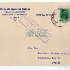 Postales: ANTIGUA POSTAL GUERRA CIVIL. GIJÓN. 1938. CENSURA MILITAR. ASTURIAS. Lote 211825658