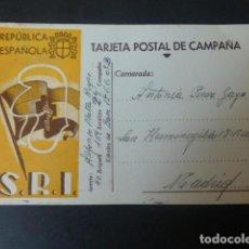 Postales: TARJETA POSTAL DE CAMPAÑA GUERRA CIVIL SOCORRO ROJO INTERNACIONAL REPUBLICA ESPAÑOLA ESCRITA FRENTE. Lote 211857281
