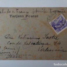 Postales: JAÉN. CENSURA MILITAR. POSTAL REMITIDA A VALENCIA. NOV. 1939. Lote 219016190