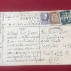Postales: GUERRA CIVIL-POSTAL MILICIES ANTIFEIXISTES DE CATALUNYA. 1938.. Lote 219866052