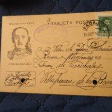 Postales: POSTAL PATRIÓTICA FRANCO. VILLAFRANCA DE LOS BARROS. BADAJOZ. 1938.NO CATALOGADA. Lote 220762160