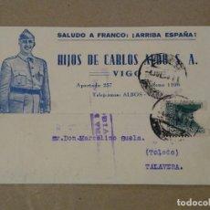 Postais: POSTAL PATRIÓTICA . HIJOS DE CARLOS ALBO.. SALUDO A FRANCO. TALAVERA DE LA REINA. VIGO. 1938. Lote 220945033