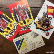 Postales: POSTALES O RECORTES ANTIGUOS DE LA FALANGE JUVENILES DE FRANCO BANDERA AGUILA IMPERIAL ESPAÑA. Lote 221258902