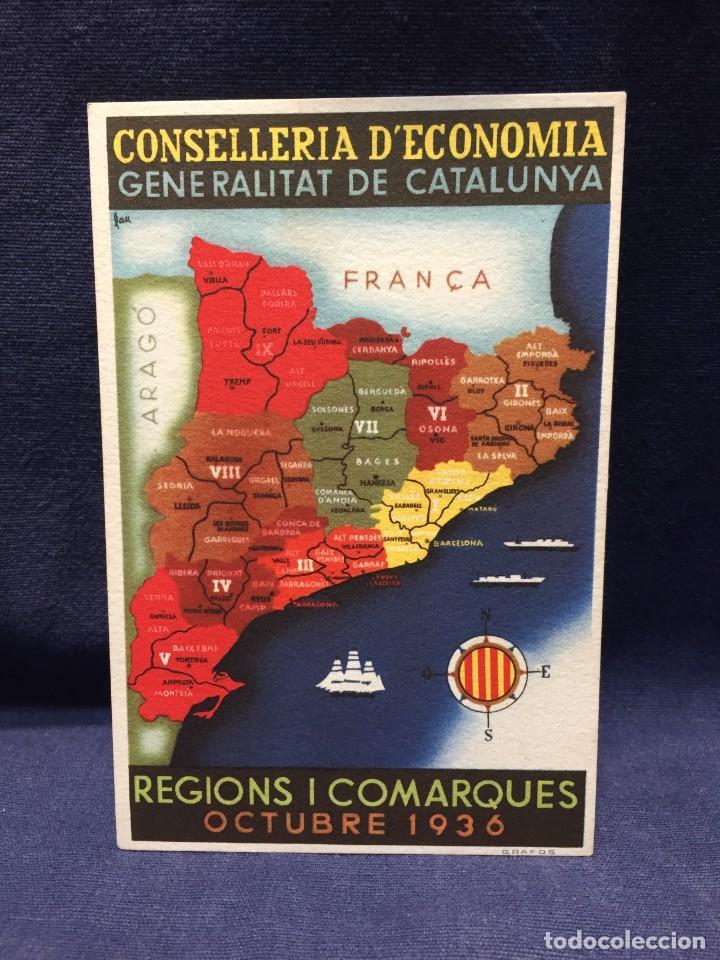 FOTOGRAFIA POSTAL CONSELLERIA ECONOMIA GENERALITAT CATALUNYA REGIONS I COMARQUES OCT 1936 NO CIRC (Postales - Postales Temáticas - Guerra Civil Española)