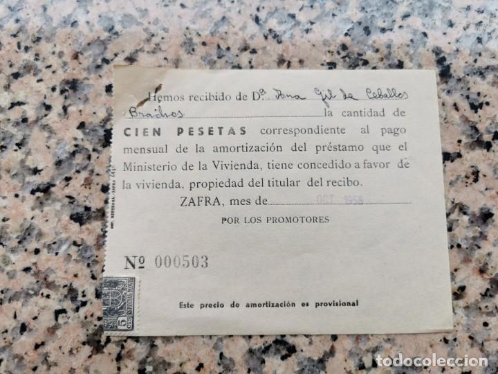 RECIBO AMORTIZACION DE PRESTAMO SELLADA EN OCTUBRE DE 1958 (Postales - Postales Temáticas - Guerra Civil Española)
