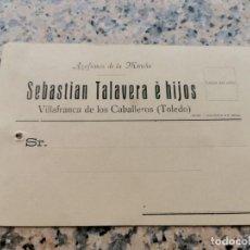 Postales: TARJETA DE PRECIOS DE SEBASTIAN TALAVERA E HIJOS VILLAFRANCA DE LOS CABALLEROS TOLEDO. Lote 229452530