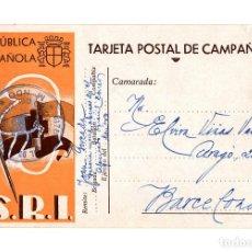 Postales: TARJETA CAMPAÑA. SELLO BATALLÓN DE OBUSES 24 CM. SOCORRO ROJO INTERNACIONAL (S.R.I.).. Lote 234304880