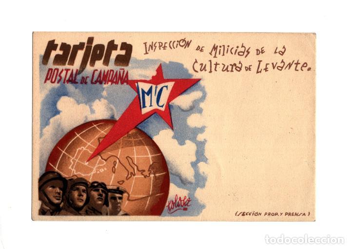 REPÚBLICA.- INSPECCIÓN DE MILICIAS DE LA CULTURA DE LEVANTE. TARJETA POSTAL DE CAMPAÑA. (Postales - Postales Temáticas - Guerra Civil Española)