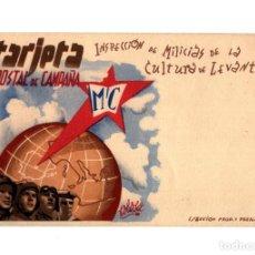 Postales: REPÚBLICA.- INSPECCIÓN DE MILICIAS DE LA CULTURA DE LEVANTE. TARJETA POSTAL DE CAMPAÑA.. Lote 234559500
