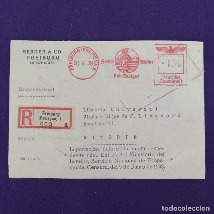 ANTIGUO CERTIFICADO ALEMAN CON DOS CENSURAS MILITARES. ORIGINAL. (Postales - Postales Temáticas - Guerra Civil Española)