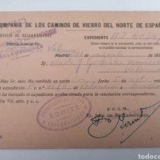 Postales: VALENCIA. FERROCARRILES NORTE. COMITÉ DE RECLAMACIONES. 1937. GUERRA CIVIL.. Lote 243127265