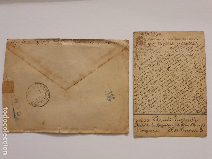 Postales: GUERRA CIVIL 1938 - COMISARIADO DE GUERRA 33 DIVISIÓN - POSTAL Y SOBRE - LCC - P46753 - Foto 2 - 243486220