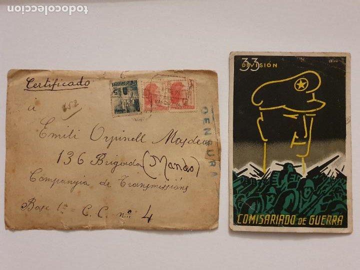 GUERRA CIVIL 1938 - COMISARIADO DE GUERRA 33 DIVISIÓN - POSTAL Y SOBRE - LCC - P46753 (Postales - Postales Temáticas - Guerra Civil Española)
