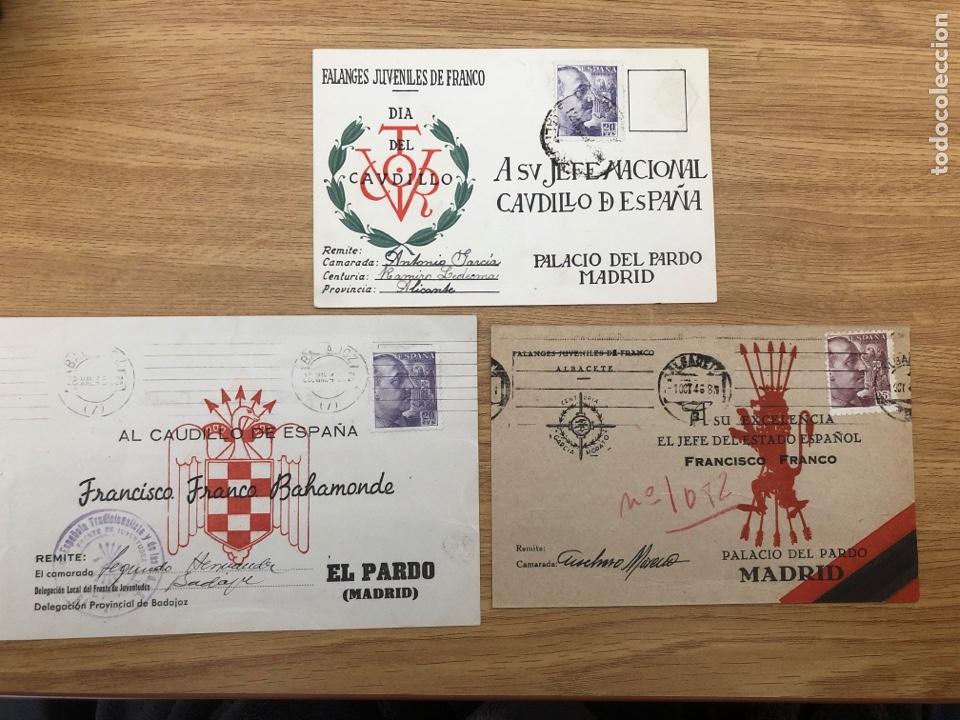 3 POSTALES FRENTE JUVENTUDES CIRCULADAS FALANGE (Postales - Postales Temáticas - Guerra Civil Española)