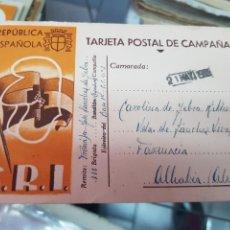 Postales: POSTAL MILITAR REPUBLICA ESPAÑOLA GUERRA CIVIL SRI ESCRITA MORATA DE TAJUÑA A ALHABIA ALMERIA 1938. Lote 245928520