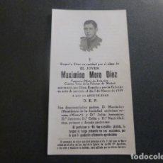 Postales: RECORDATORIO CAIDO GUERRA CIVIL MAXIMINO MORO MADRID 7 MARZO 1939 TENIENTE AVIACION CAMISA VIEJA. Lote 247103210