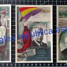 Postales: 3 POSTALES.RECUERDO DE LA PROCLAMACIÓN DE LA REPÚBLICA ESPAÑOLA. 14 ABRIL 1931.. Lote 253711910