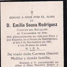 Postales: RECORDATORIO FÚNEBRE GUERRA CIVIL CAPITÁN DEL BATALLÓN DE CAZADORES DE IFNI FRENTE SABIÑANIGO 1937. Lote 254349415