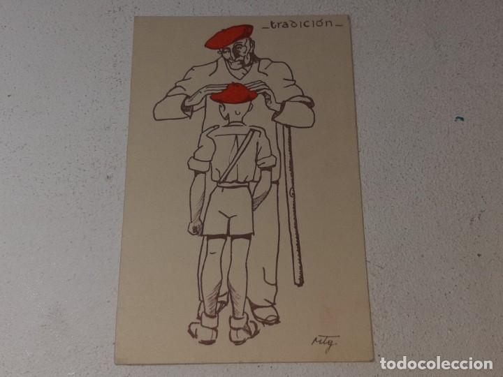 ANTIGUA POSTAL GUERRA CIVIL ESPAÑOLA - REQUETE - CARLISTA - TRADICION AUTORIZA LA J.P.P DE NAVARRA (Postales - Postales Temáticas - Guerra Civil Española)