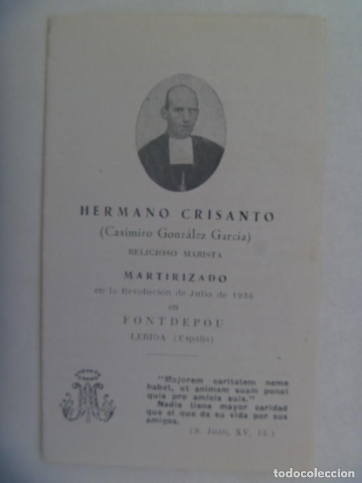 GUERRA CIVIL: RECORDATORIO RELIGIOSO MARISTA ASESINADO POR LOS ROJOS EN FONTDEPOU ( LERIDA )EN 1936 (Postales - Postales Temáticas - Guerra Civil Española)