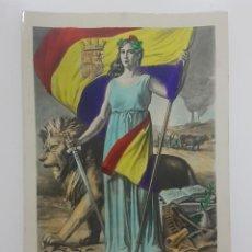 Postales: POSTAL REPUBLICA ESPAÑOLA 1931. BANDERA REPUBLICANA A COLOR. Lote 266643593
