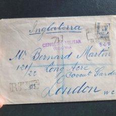 Postales: CARTA ENVIADA A LONDRES. CENSURA SEGOVIA. GUERRA CIVIL. Lote 267494804