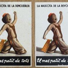 Postales: EL MES PETIT DE TOTS Y VARIANTE, 2 POSTALES ORIGINALES GUERRA CIVIL, COMISSARIAT DE PROPAGANDA. Lote 268806864