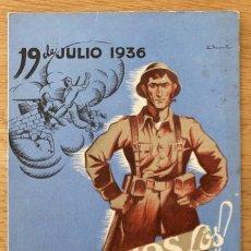 Postales: ASÍ SOMOS LOS ESPAÑOLES. POSTAL GUERRA CIVIL. PROPAGANDA CNT - FAI - F.J.L.L. CIRCULADA 1938. Lote 270693838