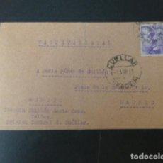 Postais: CUELLAR SEGOVIA TARJETA POSTAL CIRCULADA A MADRID POR PRESO CARCEL CENTRAL 1942 CON CENSURA CARCEL. Lote 275778238