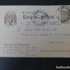Postais: CUELLAR SEGOVIA TARJETA POSTAL CIRCULADA A MADRID POR PRESO CARCEL CENTRAL 1942 CON CENSURA CARCEL. Lote 275778288
