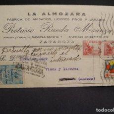 Postales: FABRICA DE ANISADOS LA ALMOZARA - AÑO 1939 CENSURA MILITAR - VIÑETA XIX CENTENARIO VIRGEN DEL PILAR. Lote 276733023