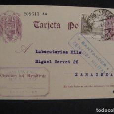 Postales: TARJETA POSTAL CIRCULADA SANTANDER , ZARAGOZA - CENSURA MILITAR SANTANDER , AÑO 1938. Lote 277293528