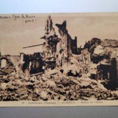 Postales: POSTAL FRANCESA DE LA DESTRUCCION DE GUERNICA. CIRCULADA DESDE ST.JEAN DE LUZ. GUERRA CIVIL. Lote 278520223